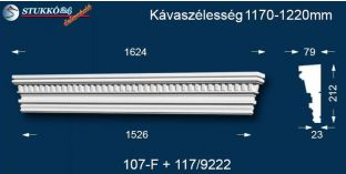 Kérgesített timpanon, polisztirol dekoráció, egyenes 107F/117 1170-1220