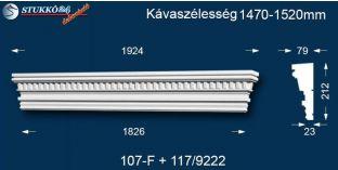 Kérgesített timpanon, polisztirol dekoráció, egyenes 107F/117 1470-1520