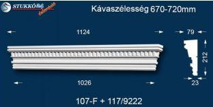 Kérgesített timpanon, polisztirol dekoráció, egyenes 107F/117 670-720