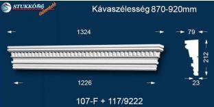 Kérgesített timpanon, polisztirol dekoráció, egyenes 107F/117 870-920