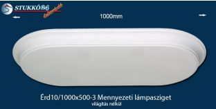 Design lámpa, mennyezeti lámpasziget Érd 10/1000x500-3 íves, világítás nélkül