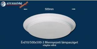 Design lámpa, mennyezeti lámpasziget Érd 10/500x500-3 íves, világítás nélkül