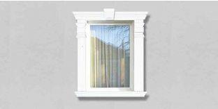 28. Kültéri stukkó dekorációs ötletek: stukkó díszek ablakkeretezéshez