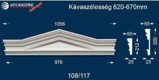 Kérgesített timpanon, ablakdísz 108/117 620-670