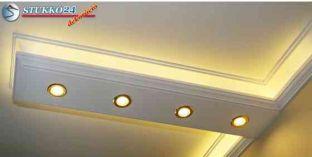 Budapest polisztirol díszléc LED rejtett világítás és spot lámpa kiépítéséhez 190+2x202