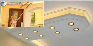 Debrecen stukkó spot lámpa direkt világítás és LED szalag indirekt világítás kiépítéséhez 400+2x205 PLEXI PLUS